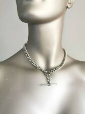 Heavy Antique Sterling Silver Curb Link FOB Chain with T bar Hollow 57g Chain