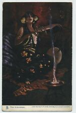 The Sorceress Vintage Raphael Tuck Firelight Effects Postcard L3