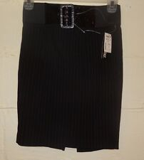 New Black Pinstripe Pencil Skirt Size M Stooshy Ladies Straight Business Belt