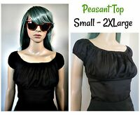 Rockabilly Black Peasant Top PinUp Rock N Roll Off Shoulder Blouse Small to 2XL
