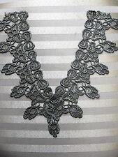 """Vintage Venise Lace Applique Bows Trim Sage / Green Front Yoke  13"""" x 4""""  GR10 $"""