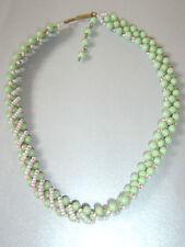 Vintage Retro 50s 60s W Germany Mid Green White Bead Twist Pattern Necklace