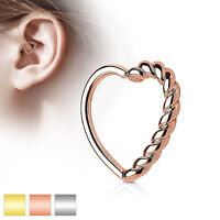 Half Braided Heart Ear Cartilage Tragus Rook Snug Daith Hoop Rings Piercing