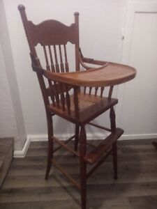 Vintage Antique Solid Oak Victorian High Chair~ Late 1800's Caned Seat