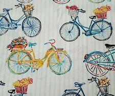 Bicycles Bty Richloom Bikes Flower Baskets Pale Blue White Stripe