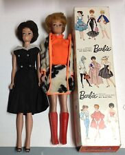 "Lot of 2 1960's ""Bubble Cut"" BARBIE DOLLS w/brunette box in outfits MATTEL Japan"