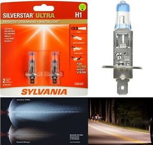 Sylvania Silverstar Ultra H1 55W Two Bulbs Head Light High Beam Upgrade Replace