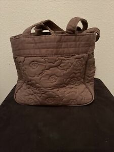 Thirty One Bag Medium Brown Quilted Purse Poppy Flowers Floral Pockets Cotton