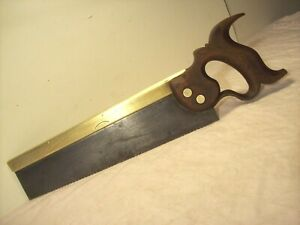 "1840's~DRABBLE & SANDERSON~SUPERIOR~BRASS BACK 12"" DOVETAIL & TENON BACKSAW TOOL"