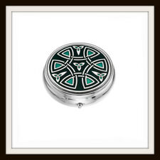 LARGE CELTIC SPIRAL & KNOT GREEN ENAMEL 3 SECTION BOXED PILLBOX ~  FROM SEA GEMS