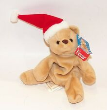 Christmas Santa Bear Bean Bag Plush Stuffed Animal Toy Doll Fiesta Hat Cap TAG