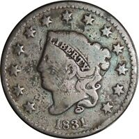 1831 1C Coronet Head Large Cent VG Details Corrosion /Cull Condition (050221304)