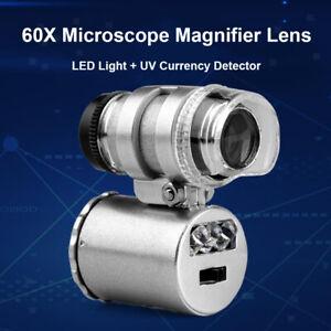 60X Portable Magnifier Miscroscope LED UV Illuminated Jewelry Diamond Eye Loupe