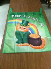 St. Patricks Day Flag-Cat Kitten As Leprechaun-Rainbow-Pot Of Gold-Shamrock