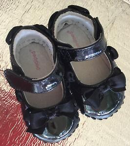 Pediped Infant Baby Girl Shoes 0-6 Natasha Black Soft Soled Leather