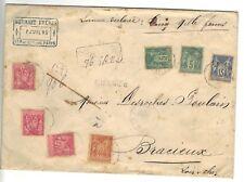 LETTRE CHARGE SAGE N°70, 98 x 3,90, 75 valeur 5000 f 1895 pour bracieux 5 cachet