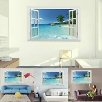 3D Beach Window Seascape Wall Sticker Nursery Home Decor Mural Vinyl Art Decal