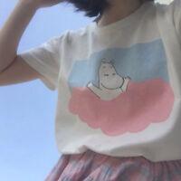 Lovely Summer Moomin Binary Star Pink Blue Clouds T-shirt Women Short Sleeve Top