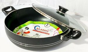 Non stick wok Stir Frying Pan Small Handle Boiling Pot with Vented Glass Lid