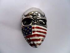 Gothic Biker Da Uomo in Acciaio Inox Bandiera USA Maschera Skull Ring Taglia 10/20 mm