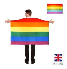 GAY PRIDE RAINBOW FLAG CAPE Unisex Carnival Wearable Festival Wear Dress LGBT UK