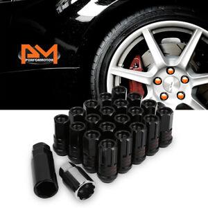 M12X1.25 Black JDM Open End Lug Nuts+Spline Locks+Key+Extension 22mmx45mm 20Pc