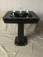 Antique Ceramic Black Porcelain Pedestal  Sink Standard Tiffin Vtg Deco 352-19E