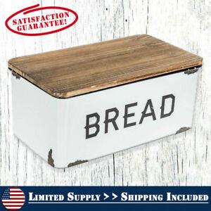 Bread Box Farmhouse White Vintage Retro Style Enamel Shabby Food Storage