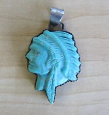 Native American Sterling Silver 925 Hand Carved Turquoise Indian Chief Pendant