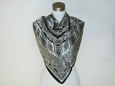 New 100% Satin Silk Scarf Black White Paisley Square
