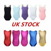 UK Girls Ballet Gymnastics Leotards Shiny Jumpsuits Dance Shoulder Strap Costume