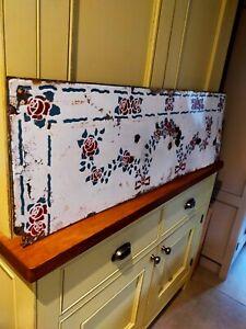 Vintage enamel white floral sheet - hearth / splashback