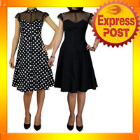 RK64 Black Polka Dot Cocktail Vintage Evening Swing 50s Rockabilly Pin Up Dress