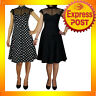 RK64 Black Polka Dot Cocktail Vintage Evening Swing 50s Rockabilly Pin Up Dress