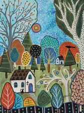 Woodsy Cottages 12 x 16 ORIGINAL CANVAS PAINTING Folk ART Abstract Karla Gerard