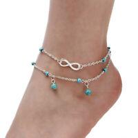 Bracelet de Cheville avec l'Infini et des Perles Turquoises Bijoux Femme Cadeau