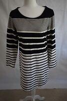 Banana Republic Women's Black and White Striped Long Sleeve Dress Size Medium