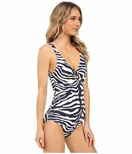 Tommy Bahama Tummy Control Zebra O-Ring V-Neck Shoulder Strap Swimsuit 4