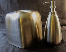 INTERDESIGN BRUSHED STAINLESS STEEL BATHROOM SET - Tissue Box Cover, Soap Pump
