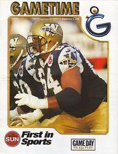 2003 Winnipeg Blue Bombers vs Toronto Argonauts Gametime Roster Brochure