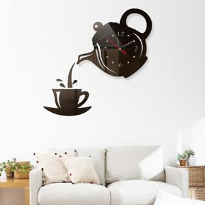 3D Wall Art Clock Stickers Acrylic Coffee Cup Teapot Self Adhesive Mirror DIY Wa