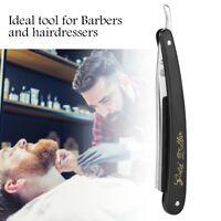 Stainless Steel Straight Edge Men Razor Blades Barber Folding Shaving Knife CO
