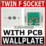 WHITE TWIN SATELLITE F TYPE WALL PLATE FACEPLATE SOCKET CONNECTOR SKY OUTLET PCB