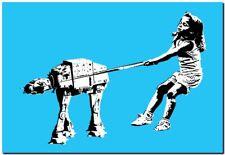 "BANKSY STREET ART CANVAS PRINT Girl & pet Imperial Walker 24""X 16"" stencil blue"