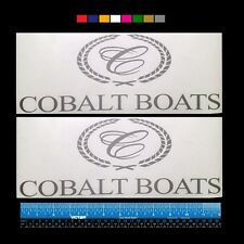 """2 (TWO) COBALT Boats Marine HQ Decals 12"""" - Silver Metallic + more"""