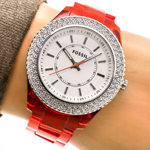 Fossil Womans Watch ES2453 Orange Resin White Dial Crystal Bezel 50m Working
