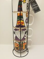 Cobwebs & Cauldrons Halloween Gnome Mugs Set of 4 Stackable Coffee BOO New
