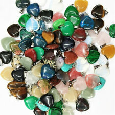 24pcs/lot hybrid heart Gemstone Silver Beads Pendants Accessories Wholesale