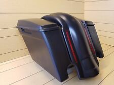 "STRETCHED 4""SADDLEBAGS DUAL EXHAUST-LIDS & REAR LED FENDER INCLUDED FOR HD"