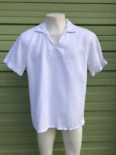 NWT ZARA WHITE Polo RUSTIC  Shirt SHORT SLEEVE RELAXED FIT LINEN  size L  #2012